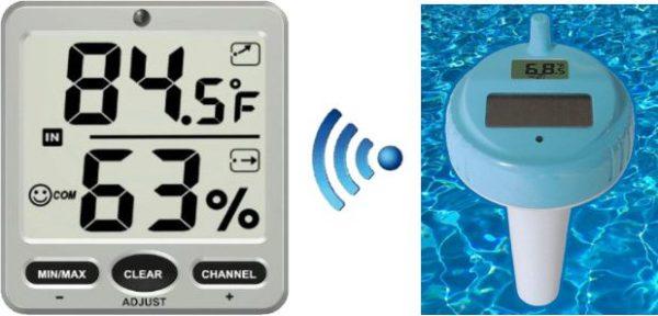 Termo-higrómetro con sensor de piscinas